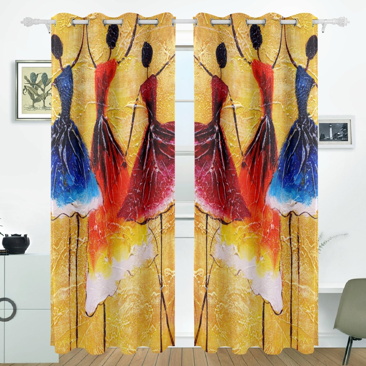 JSTEL Spanish Dance Flower Curtains Drapes Panels Darkening Blackout Grommet Room Divider for Patio Window Sliding Glass Door 55x84 Inches,Set of 2