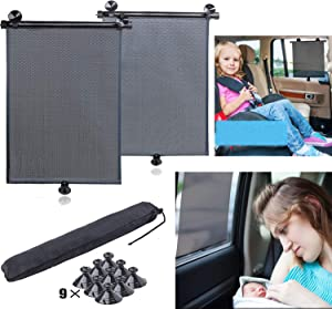 Car Window Sunshades for Side and Rear Window,Universal Roller Blind Retractable and Foldable Sunshade to Protect Baby,Kids,Pets and Passengers from Harmful UV Rays and Heat.(2 Pack)