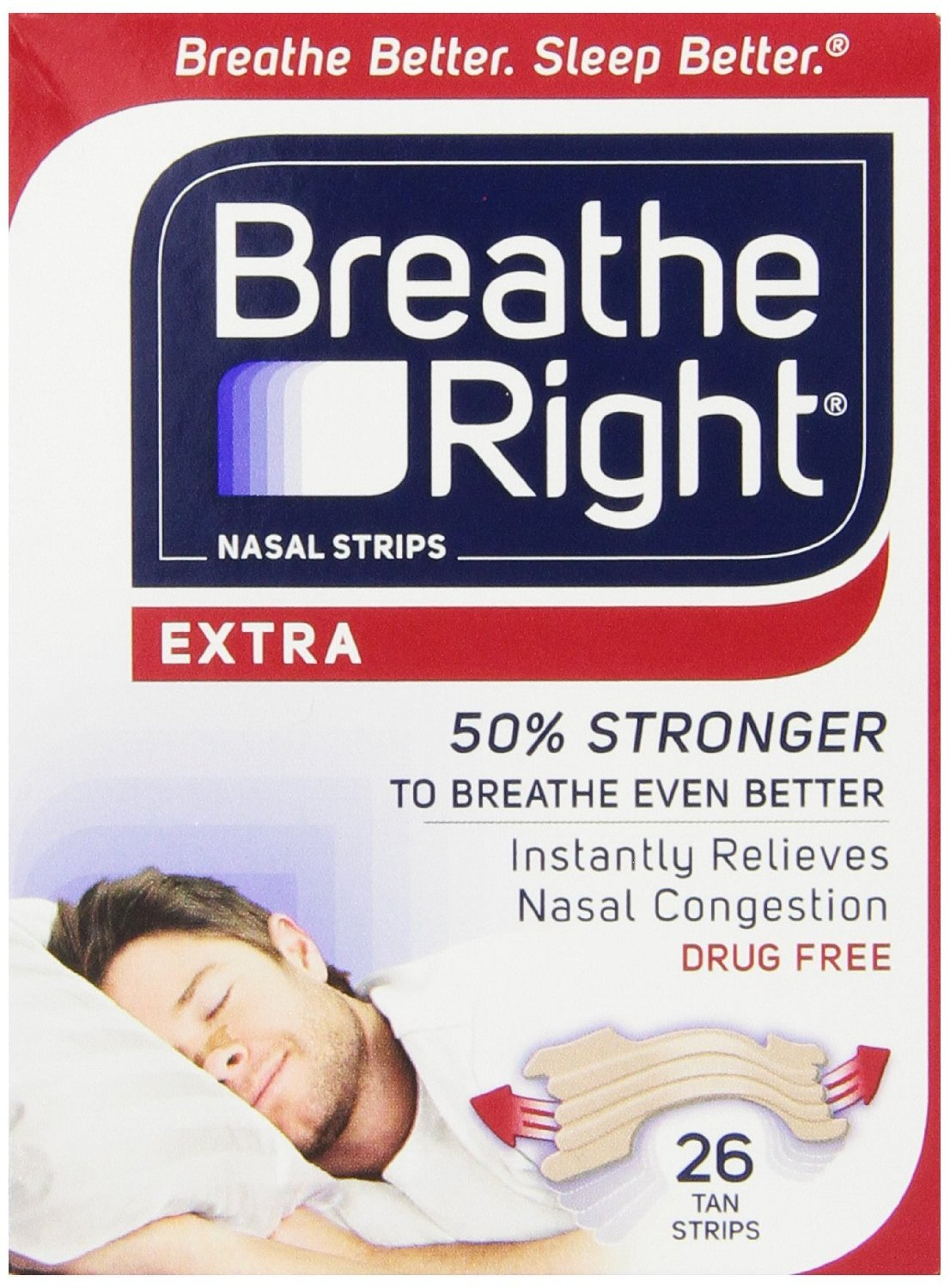 Breathe Right Nasal Strips, Extra, 26-Count Box, Pack of 4