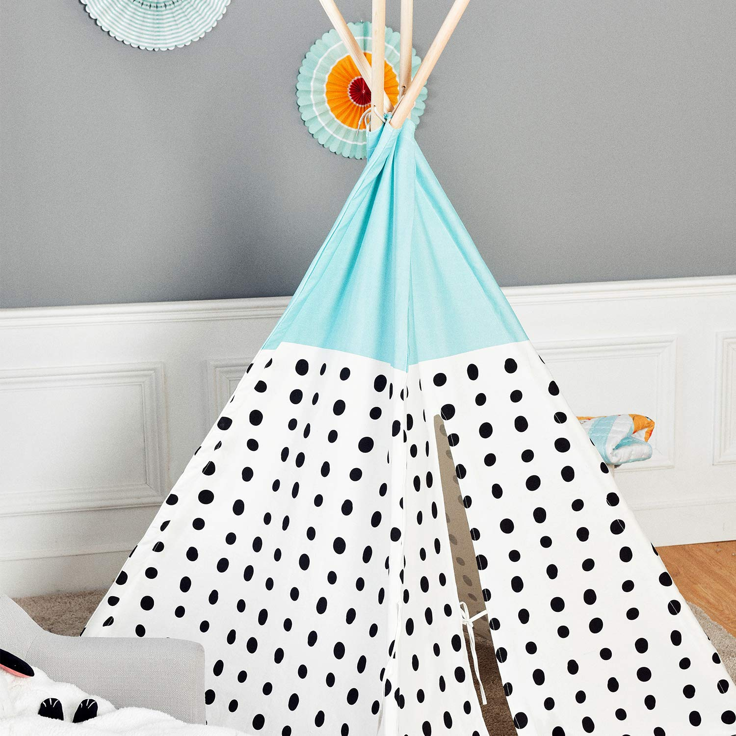 Asweets Teepee Tent for Kids Teepee Play Tent Mat for Boys Indoor Outdoor Play House Tent Indian Canvas Tipi Tent Blue Top Black Point by Asweets (Image #4)