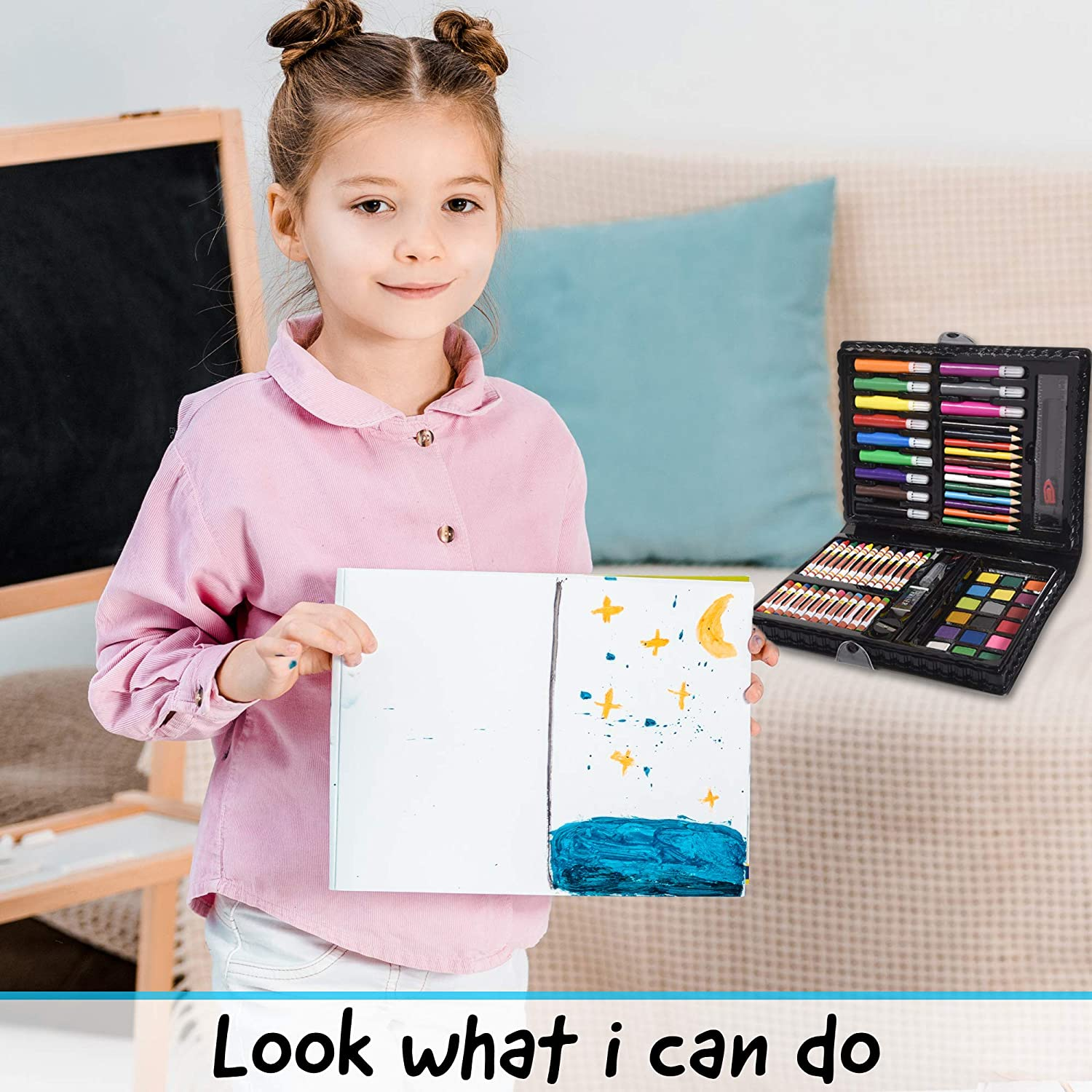 LIRS TOYS Art Set for Kids - 80 Pieces of Art Supplies | Drawing Painting and Coloring Set in a Strong and Portable Art Case | Excellent Gift for Boys and Girls - Includes Paper: Office Products