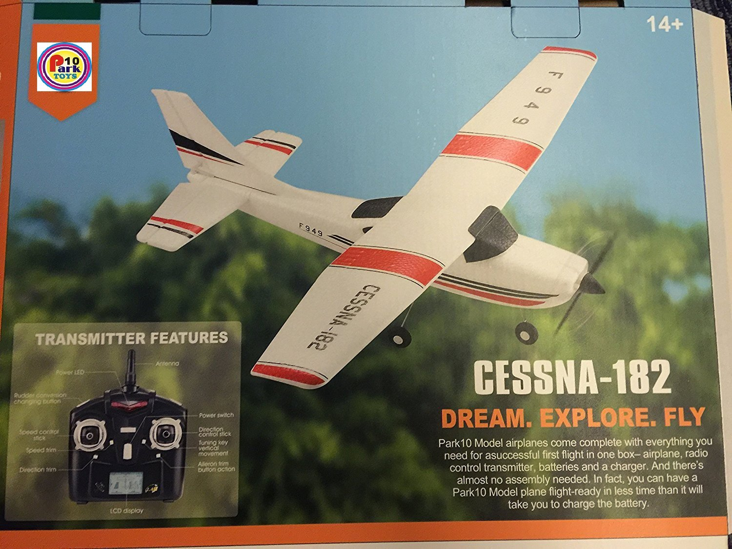 Park10 F949 3Ch RC Airplane Fixed Wing Plane Outdoor toys with 2.4G Transmitter, Extra Battery and Propeller
