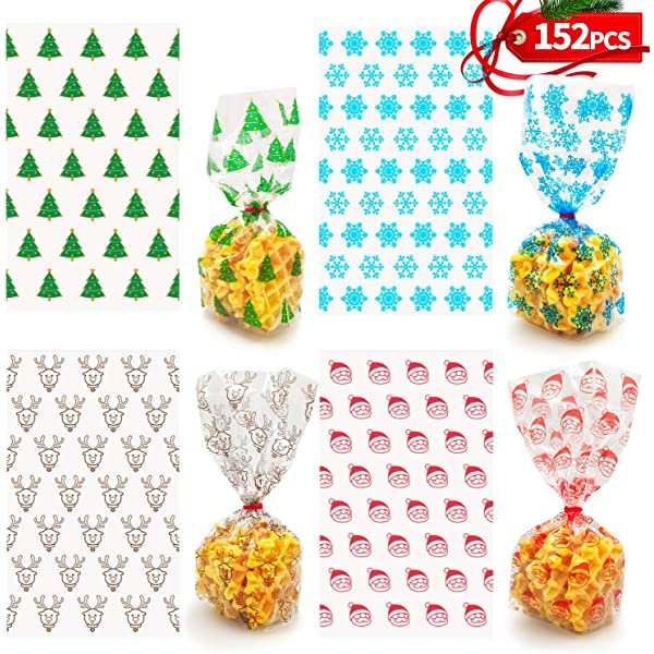 Amazon Com 152 Pcs 10 X6 Christmas Cookie Bags With Red Ribbons For Gift Bags Christmas Cellophane Treat Bags Christmas Cello Candy Bags Xmas Goody Bags Holiday Goodie Bags And Christmas Party Favors Everything