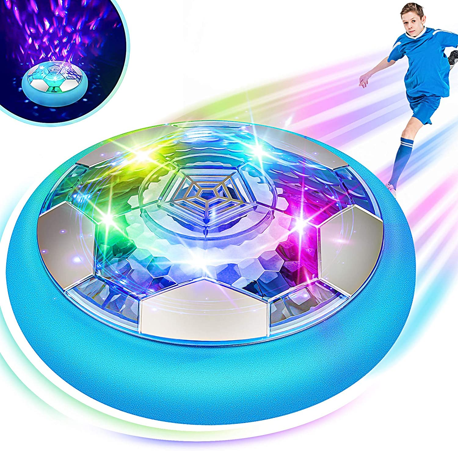 Blasland Hover Soccer Ball - Kids Toys Rechargeable Air Soccer, New Floating Soccer with Led Starlights, Foam Bumpers to Protect Furniture, Indoor Hover Ball, Best Football Toy Gift for Boys & Girls