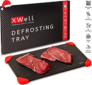 XWell Defrosting Tray for Faster Food De-Icing. Eco-Friendly, Food-Grade Aluminum Thawing Plate Without The Necessity of Microwave or Hot Water. Large Size, Big Enough to Satisfy The Whole Family
