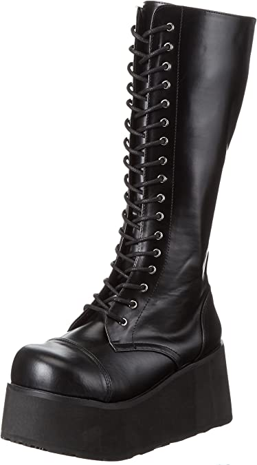 Amazon Com Demonia By Pleaser Men S Trashville 502 Lace Up Boot Black Pu 12 M Us Knee High