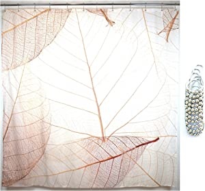 """Juici Home Leaf Shower Curtain, Includes 12 Metal Glide Shower Hooks, Printed Fabric Farmhouse Shower Curtain, Leaf Pattern, Suits Modern Home Decor, Shower Curtain Set, 72"""" x 72"""""""