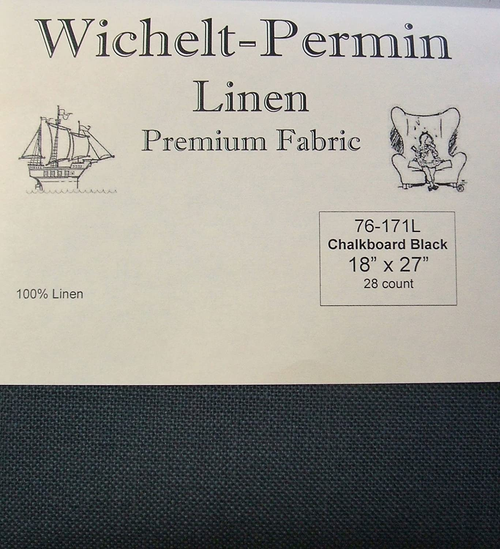 Wichelt Permin 100% Linen Chalkboard Black 28 Ct 18 x 27 Cross Stitch Fabric Wichelt-Permin
