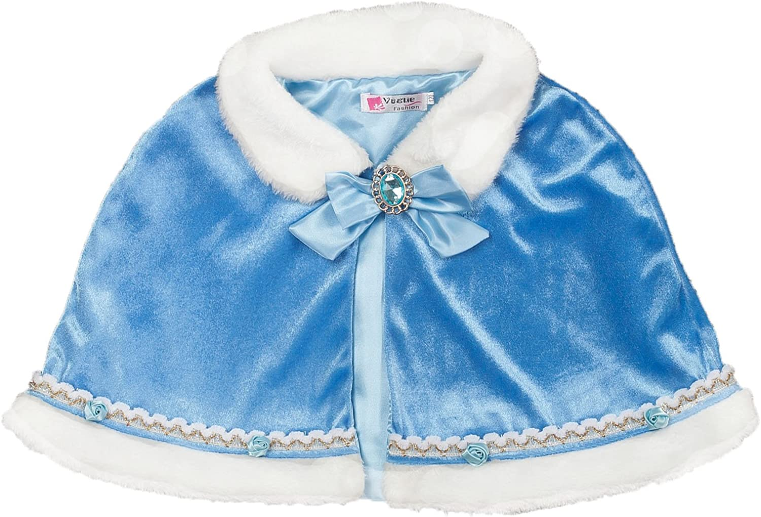 Shiny Toddler Little//Big Girls Velvet Wraps Cape Kids Bolero Wedding Princess Cloak Dress Coat