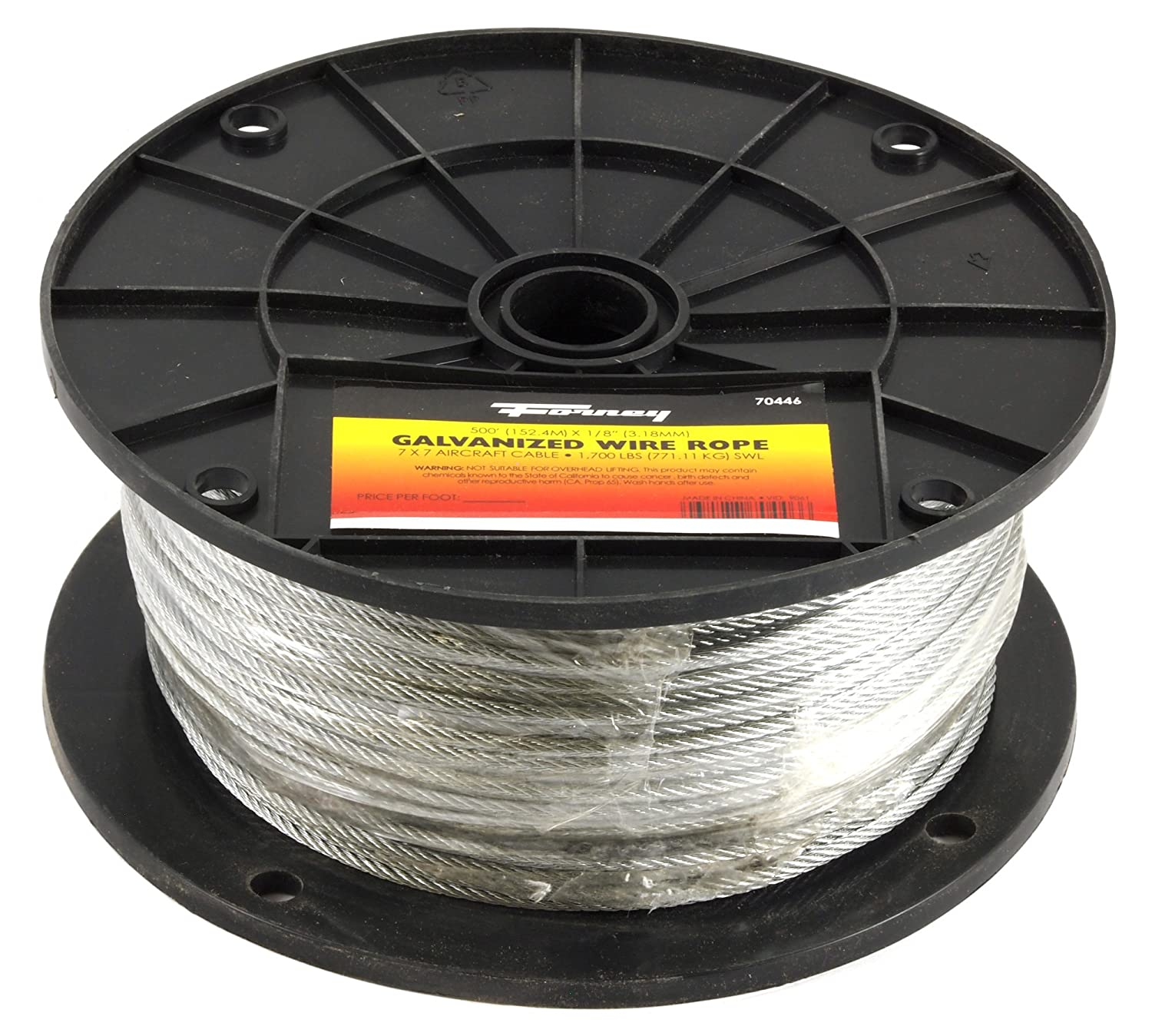 Forney 70446 Wire Rope, Galvanized Aircraft Cable, 500-Feet-by-1/8 ...