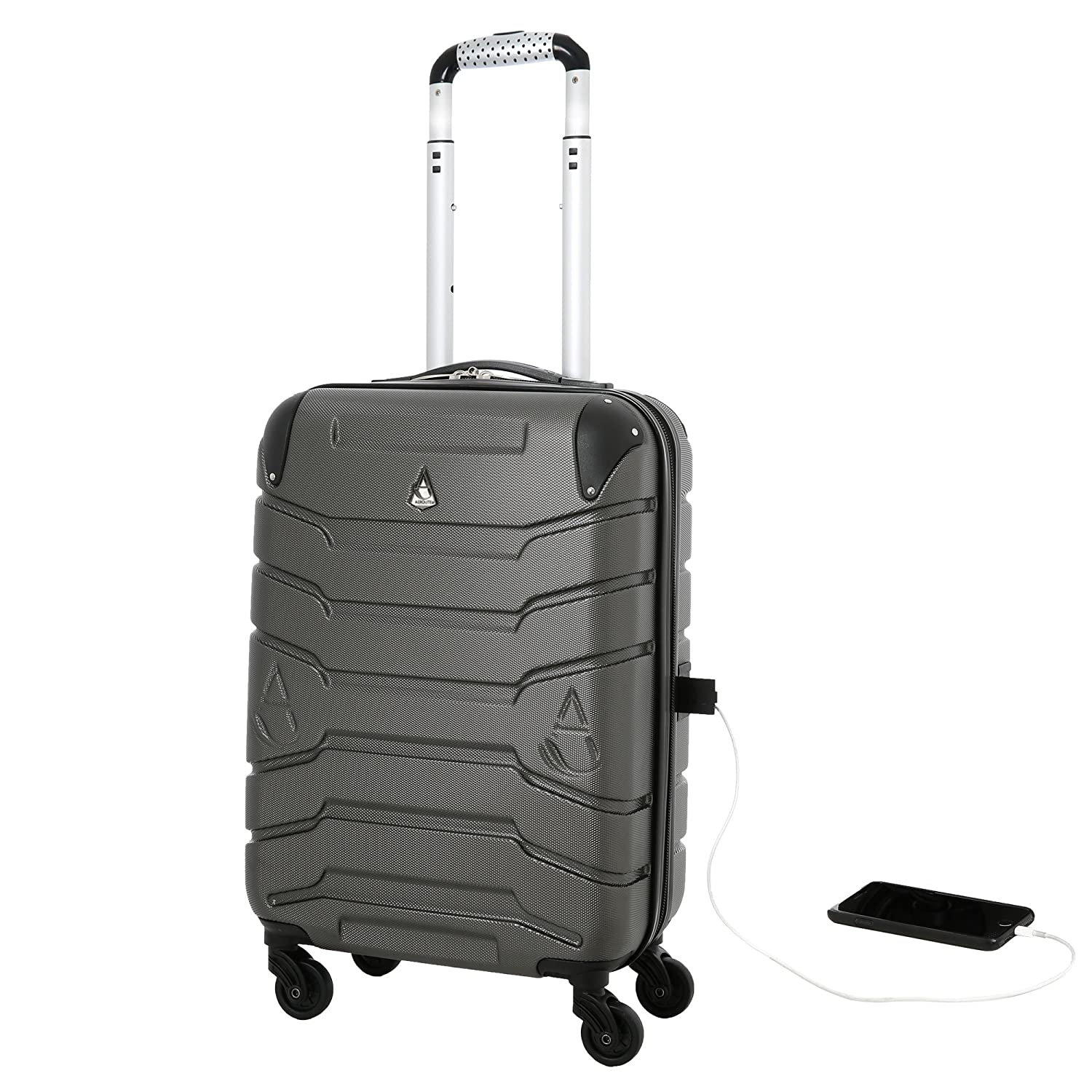 Aerolite Smart Suitcase with USB Phone Charger Port, ABS Hard Shell 4 Wheel  Carry On Hand Cabin Luggage, Approved for Ryanair, easyJet, British