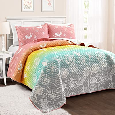 PB&J Make A Wish Dandelion Fairy Ombre Pastel Rainbow Reversible Print 3 Piece Quilt Set, Full Queen: Home & Kitchen