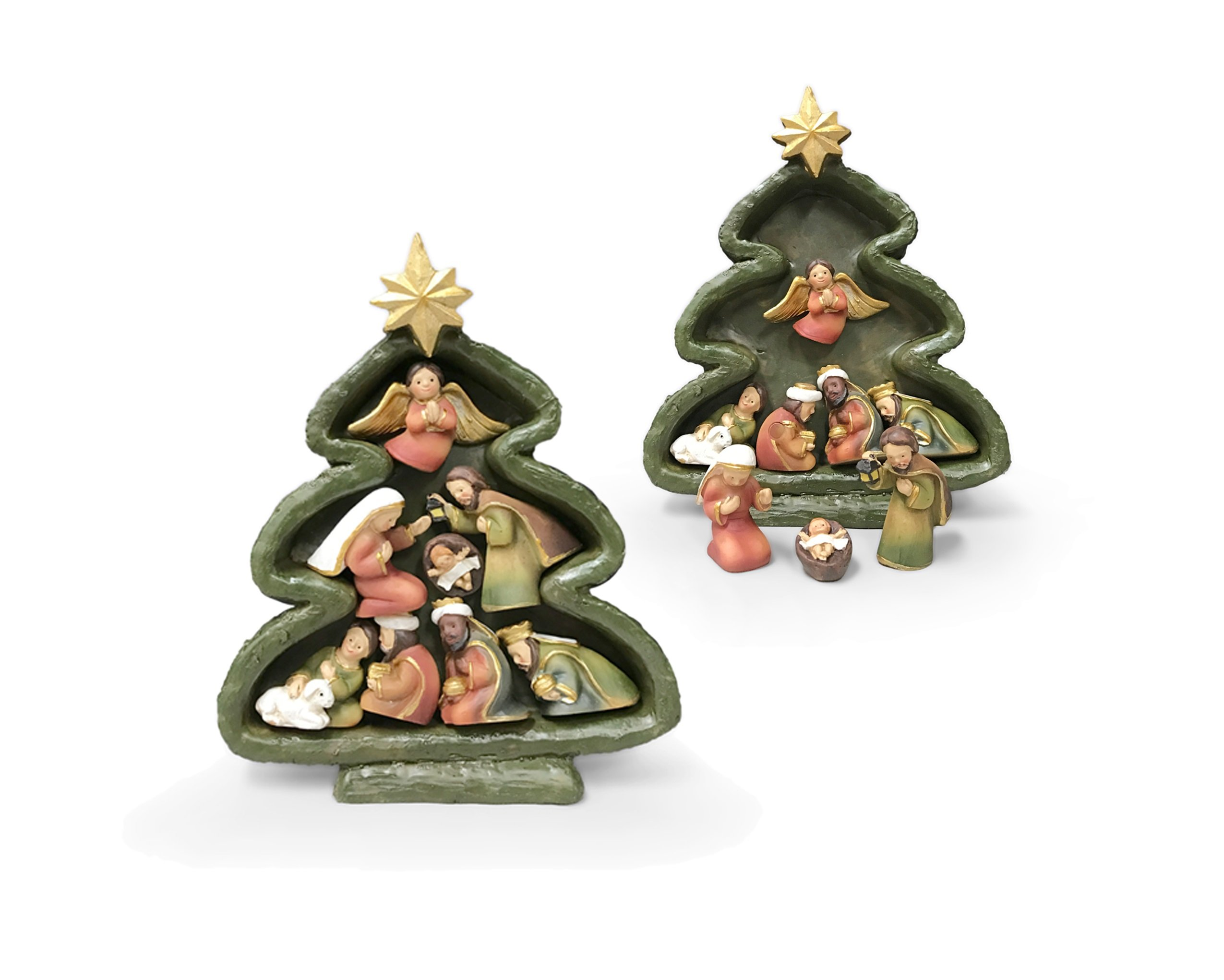 San Francis Imports Standing Christmas Tree Statue with Magnet Nativity Set Figurines, 6 Inch