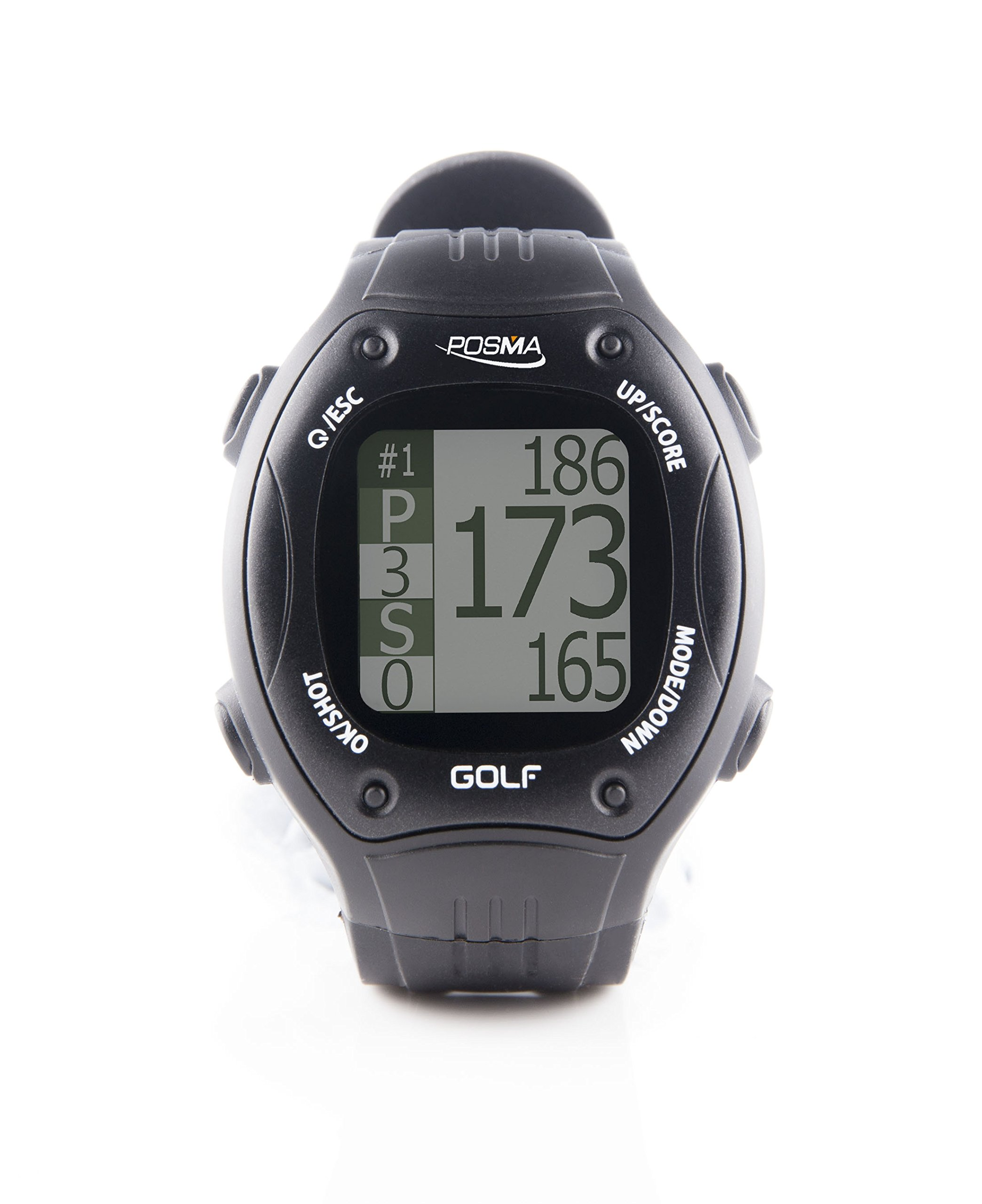 POSMA GT1+ Golf Trainer GPS Golf Watch Range Finder, Preloaded Golf Courses, no download no subscription, Black. Global courses incl. US, Canada, Europe, Australia, New Zealand, Asia