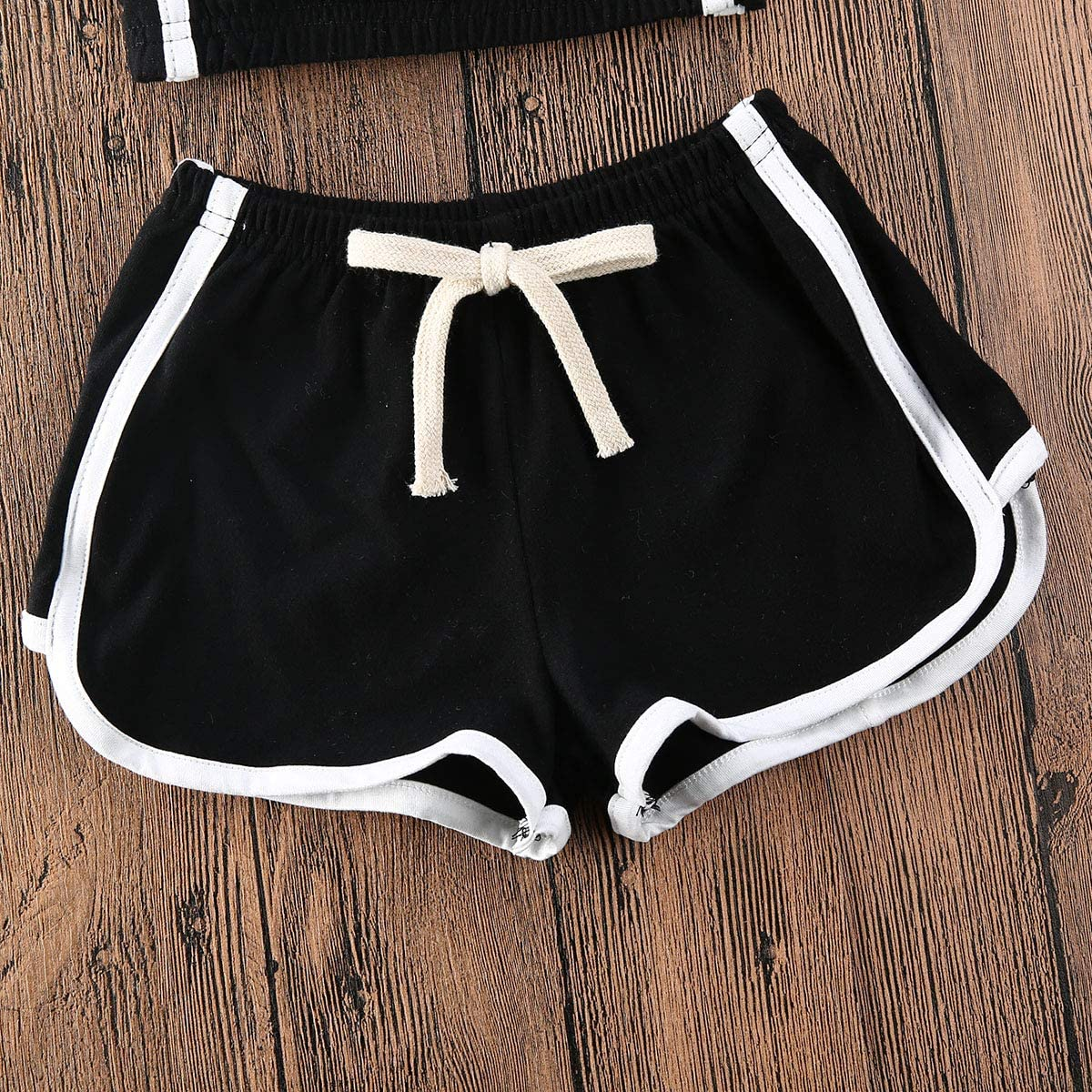 Ilyhaha Toddler Baby Girl Summer Outfits Cotton Strap Crop Top Halter+Striped Shorts Pants 2Pcs Sports Clothes Set