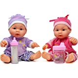 Little Princess Baby Twin Dolls, 9 Inch with Adorable Outfit Super Cute Boy and Girl Twin Doll, 2 Bottles Included