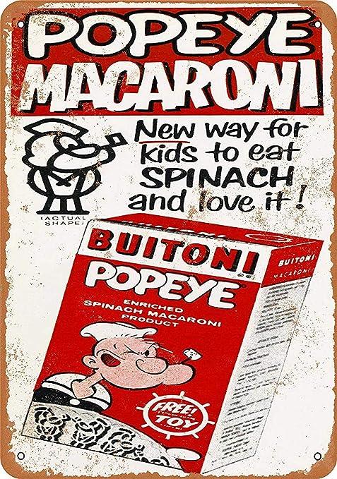 HiSign Popeye Macaroni Retro Cartel de Chapa Coffee Póster ...