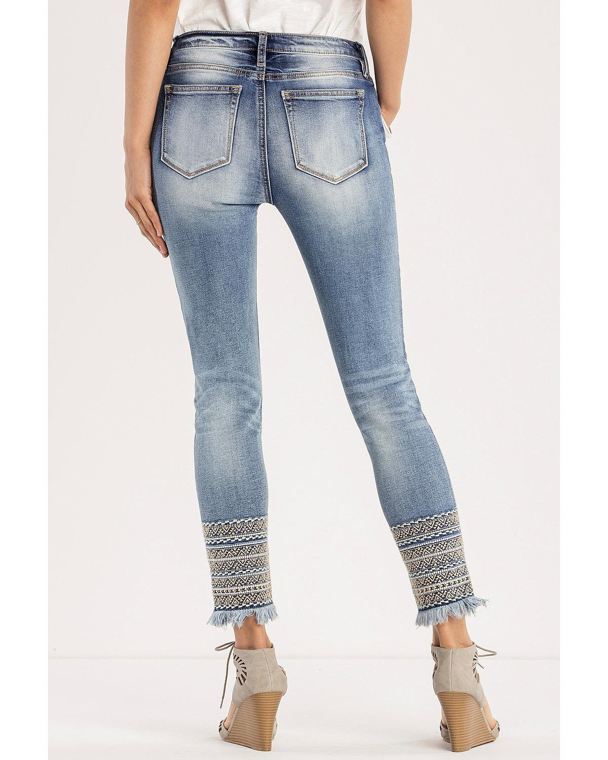 Miss Me Women's A Groove Thang Mid-Rise Ankle Skinny Jeans Indigo 29
