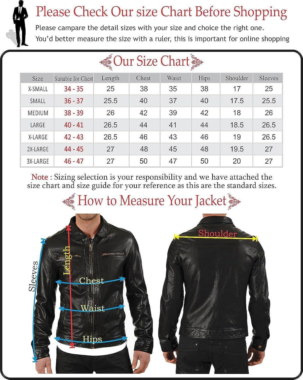 Mens Stylish Lambskin Genuine Leather Motorcycle Biker Jacket 25