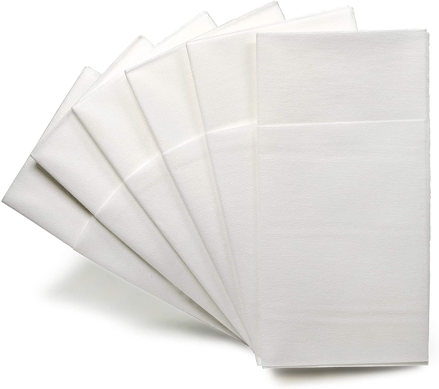 """"""" OCCASIONS"""" Wedding Party Linen Feel White Dinner Superior Quality Paper Napkins (240, Prefolded for Silverware)"""