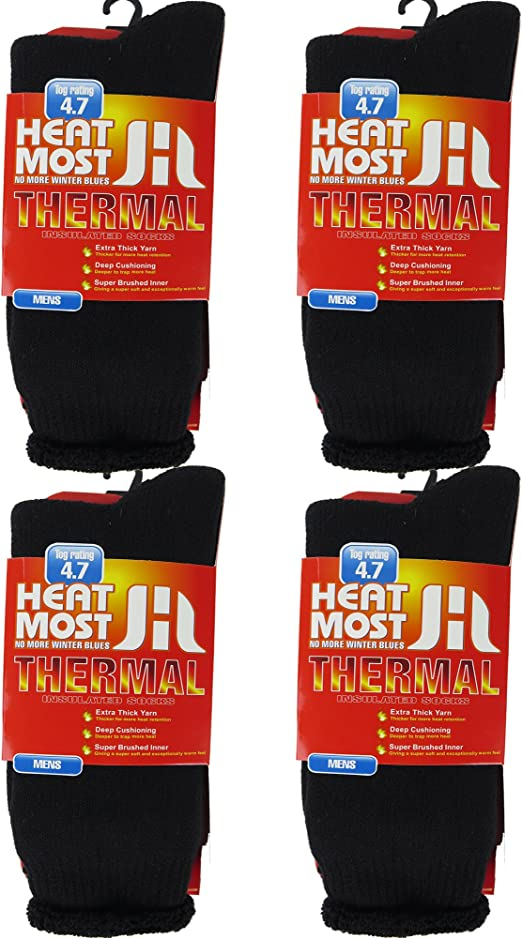 2.0-2.3 Tog Ladies Mens Brushed Thermal Thick Boot Socks Teens Winter Warm