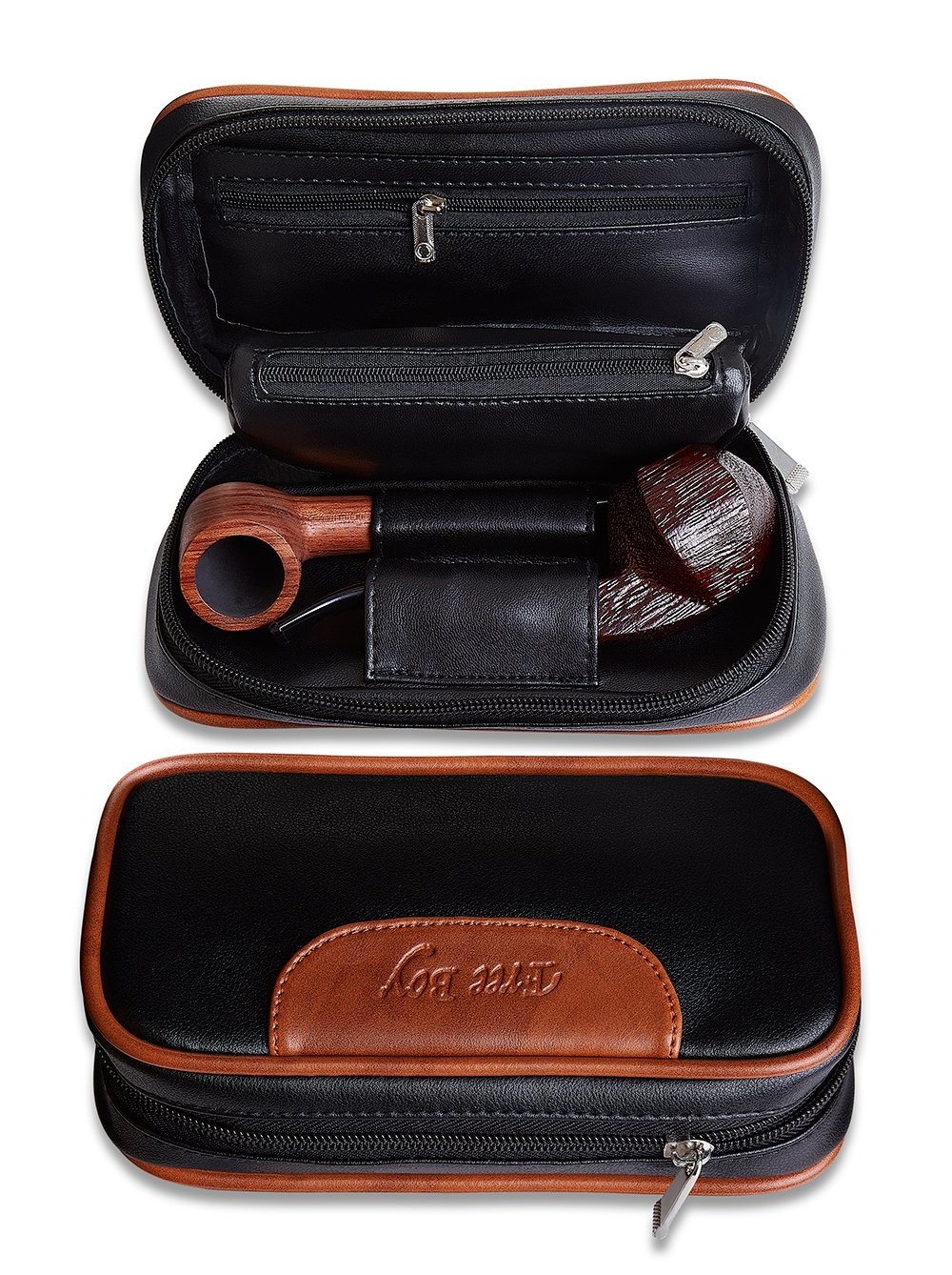 Tobacco Pipe Pouch, Free Boy Smoking Pipe Bag, Leather Case for 2 Pipes, Filter and Cleaner Tool