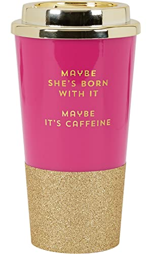 "C.R. Gibson 16 Ounce Plastic Travel Cup With Glitter Base, Includes Plastic Lid, Perfect For On The Go, Travel & More, Measures 3.4"" D x 7"" H -  Maybe She's Born With It"