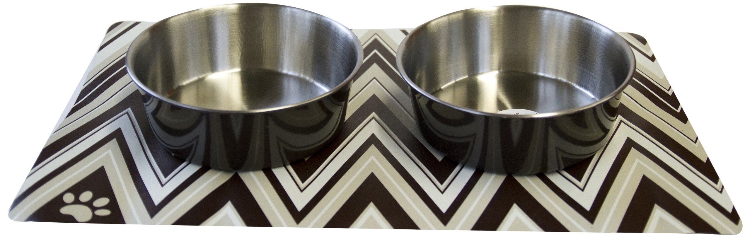 Danazoo Golden Waves Stay-On Mat with Stainless Steel Bowl