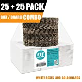 [25 Boxes and 25 Circles Pack] 6x6x3 White Pie/Cake Box with Window and 6 Inch Round Gold Base Board - Cardboard Gift Packaging for Cupcake, Cookie, Pastry, Auto-Popup Restaurant Bakery Containers