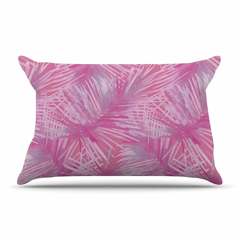 Kess InHouse Pink Leaves Pillow Sham 40 x 20