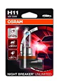 OSRAM NIGHT BREAKER UNLIMITED H11, halogen-headlamp bulb, 64211NBU-01B, 12V, single blister (1 piece)