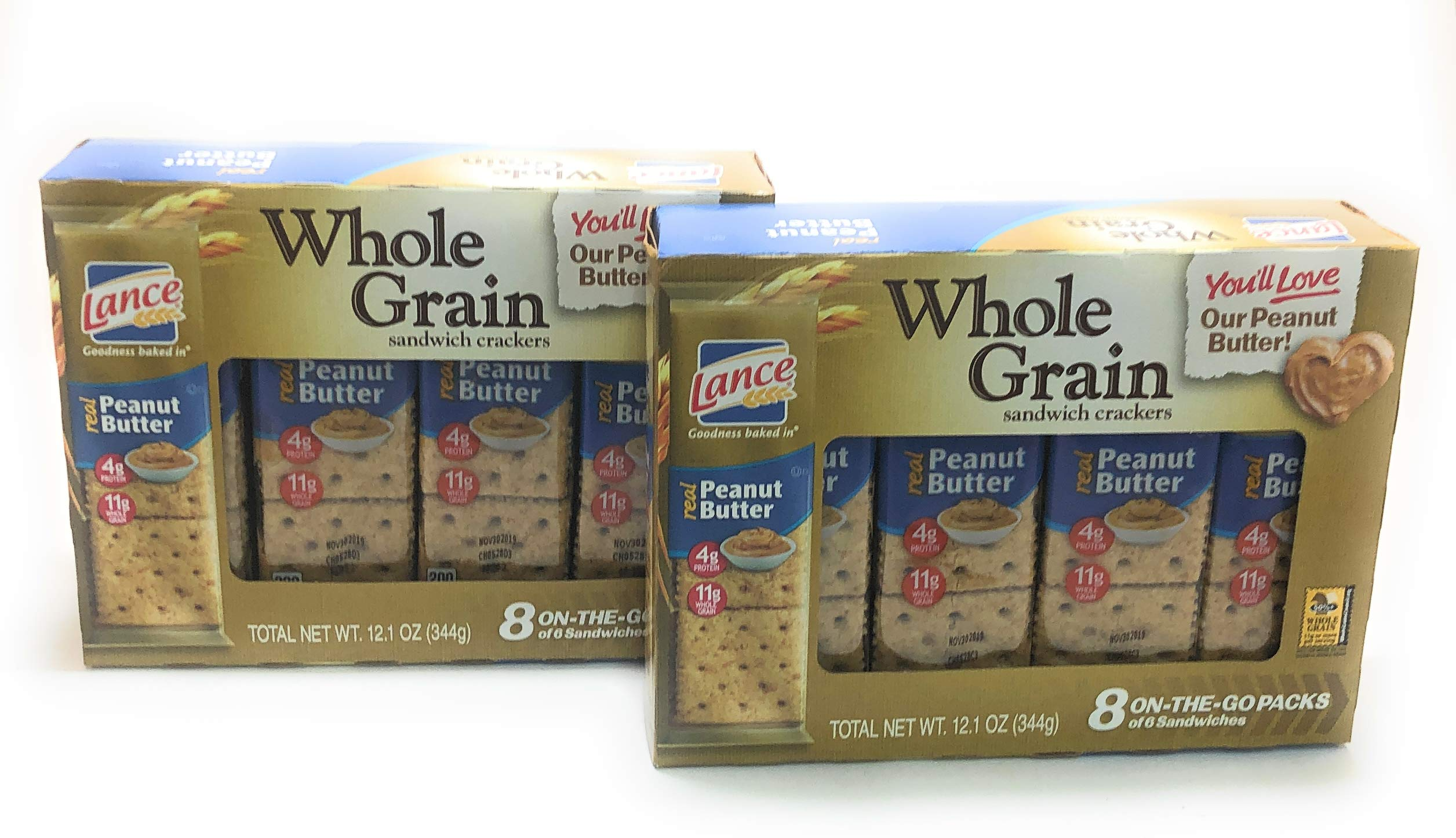 Lance Whole Grain Peanut Butter Sandwich Crackers 12.1 oz, Pack of 2 by Lance Crackers