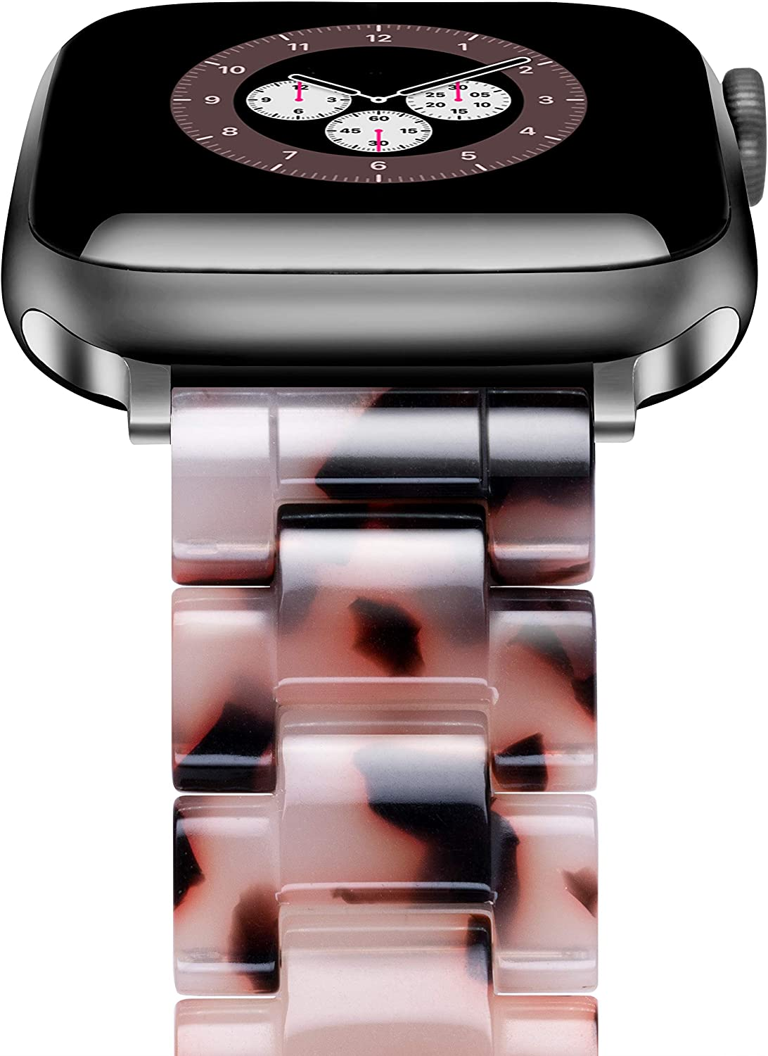 Caunedy Watch Band Compatible with Apple Watch 38mm/40mm for Women Man,Light Resin Bracelet Fashion Strap with Stainless Steel Buckle for iWatch Series 6/5/4/3/2/1/SE (Black Grey, 38/40mm)