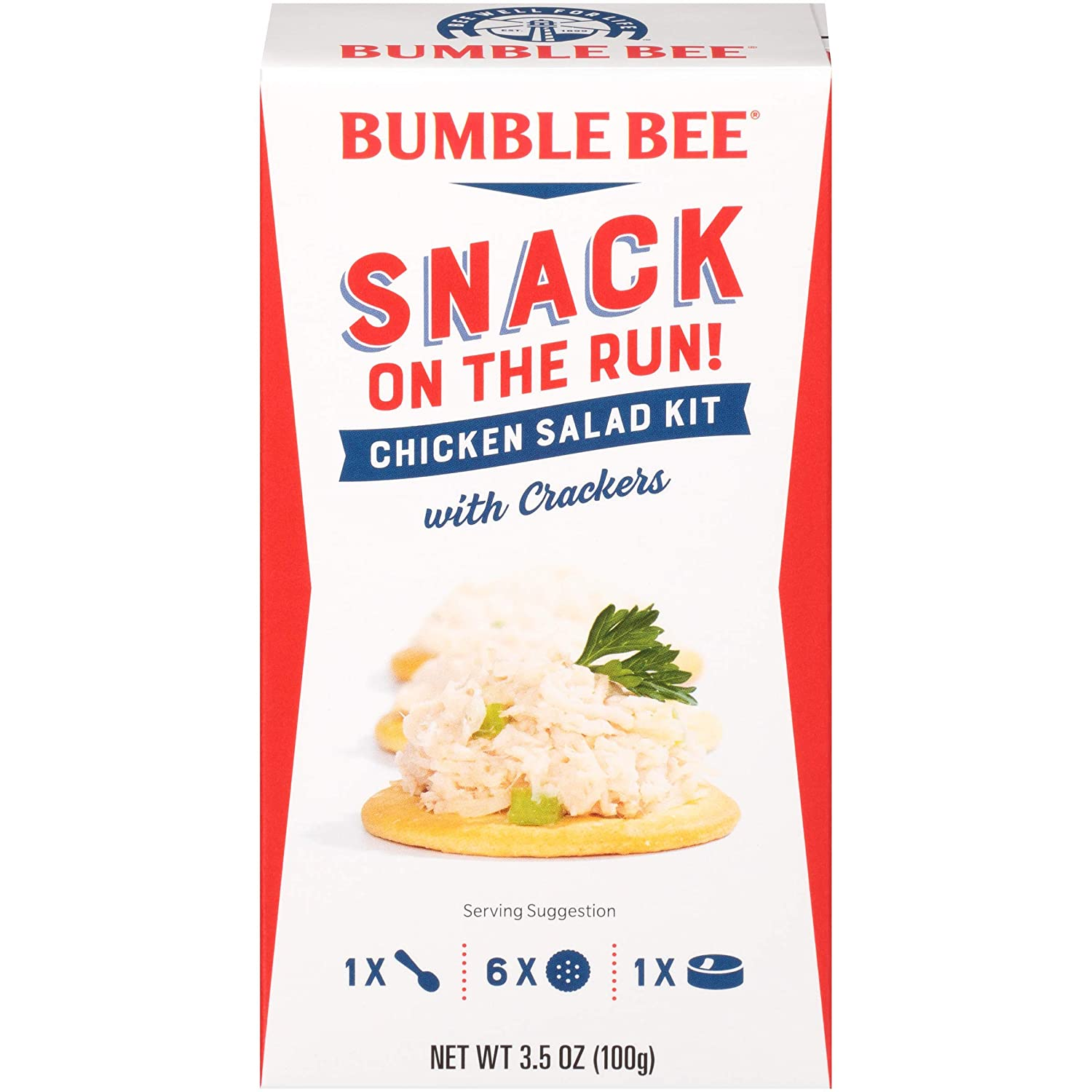BUMBLE BEE Snack on the Run! Chicken Salad with Crackers Kit, 3.5 Ounce Kit (Pack of 12), High Protein Snack Food, Canned Chicken, Made with Chicken Breast, Healthy Snacks for Adults