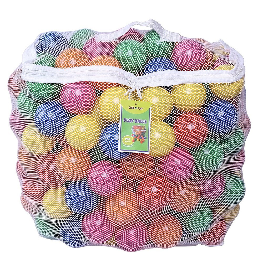 Click N Play iJpxSh Phthalate Free BPA Free Crush Proof Plastic Ball, Pit Balls 6 Bright Colors in Reusable and Durable Storage Mesh Bag with Zipper, Pack of 400
