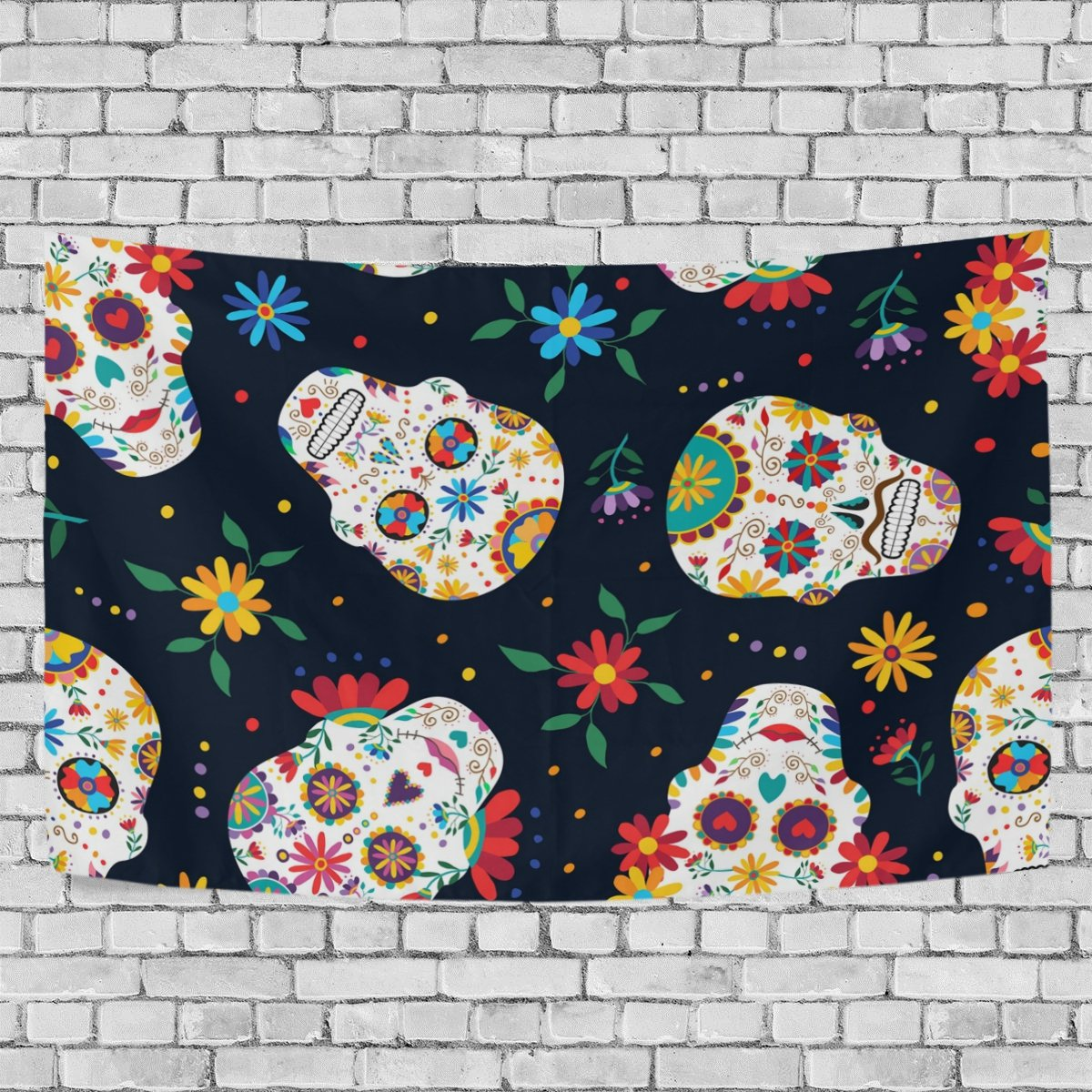 AURELIOR Sugar Skull Home Decor, Day Of The Dead Floral Skull Pattern Tapestry Wall Decor Art for Living Room Bedroom Decoration 80 X 60 Inches