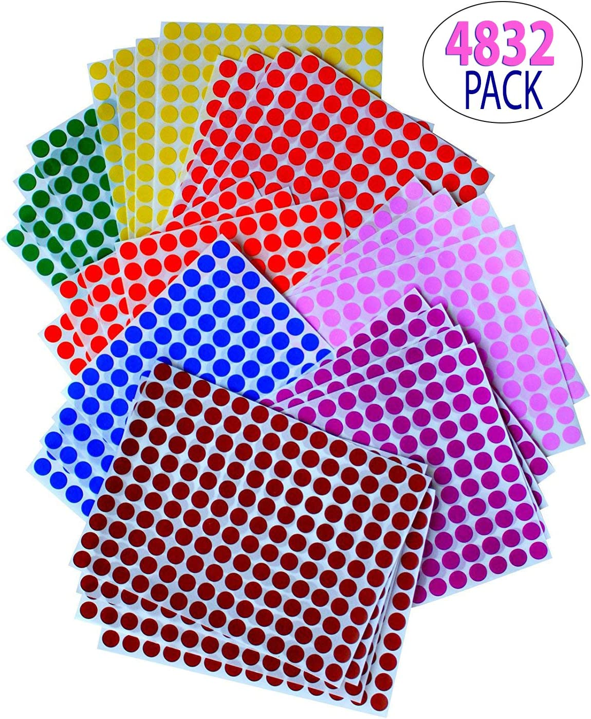 KIDS COLORED ROUND DOTS 3/8 inch (0.375) 8 COLORS - 32 SHEETS -10mm - Arts, Crafts, Fun and Games Stickers - by Royal Green: Amazon.es: Juguetes y juegos