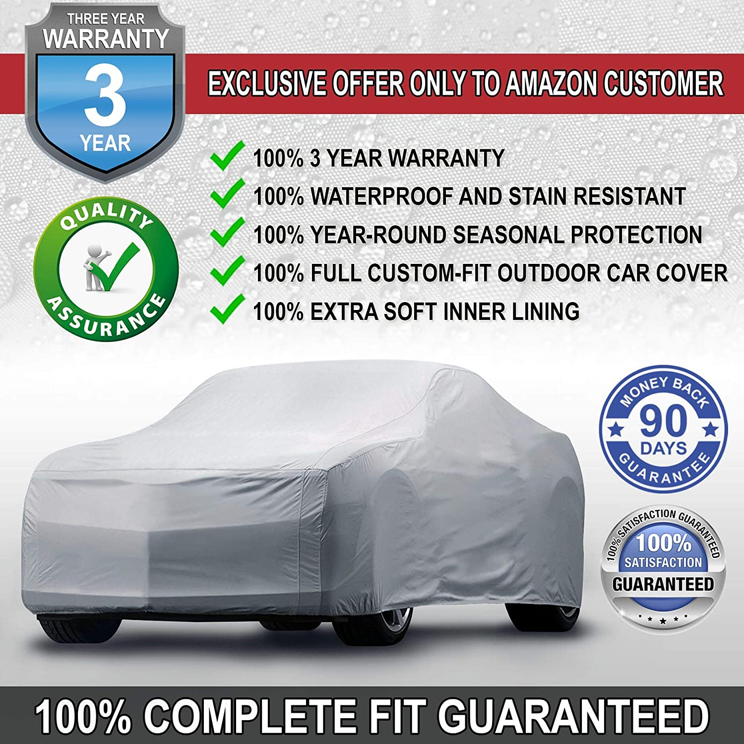 iCarCover {3-Year Full Warranty} All-Weather Waterproof Snow UV Heat Protection Dust Scratch Resistant Windproof Weatherproof Breathable Automobile Indoor Outdoor Auto Car Cover for Cars Up to 223
