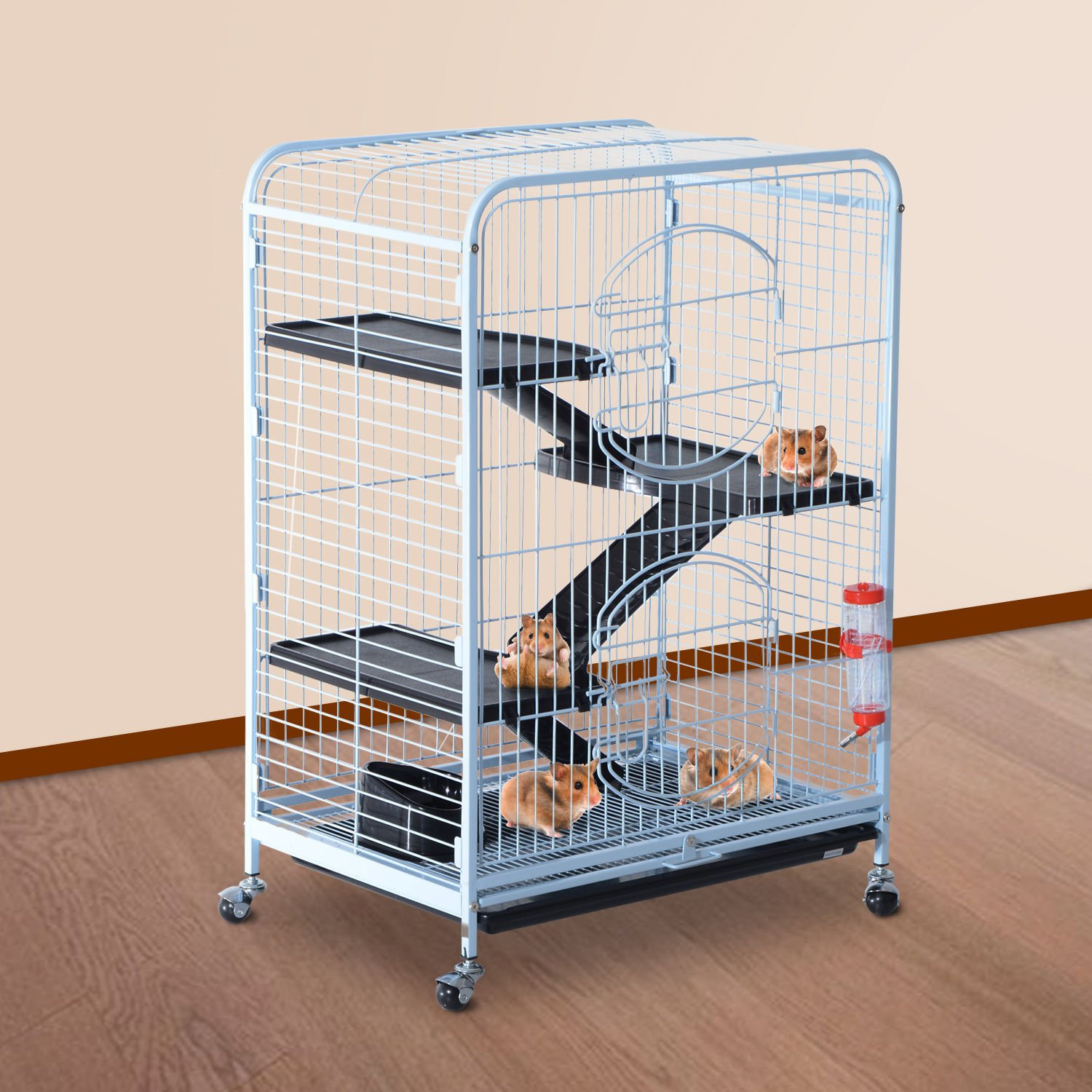 PawHut 37'' 4 Level Indoor Portable Pet Habitat Small Animal Cage Kit With Plastic Shelves And Ramps - White by PawHut (Image #2)