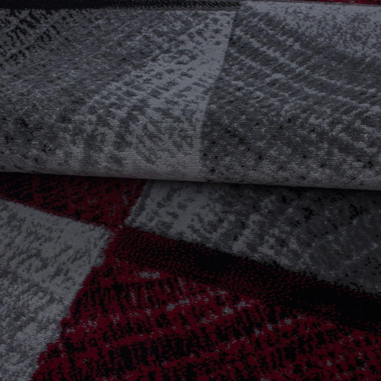 Gr/ö/ße:80x150 cm Jugendzimmer meliert Kinderzimmer HomebyHome Moderner Kurzflor Guenstige Teppich Karo Baumrinde Schwarz Grau Weiss Rot meliert 5 Groessen Wohnzimmer
