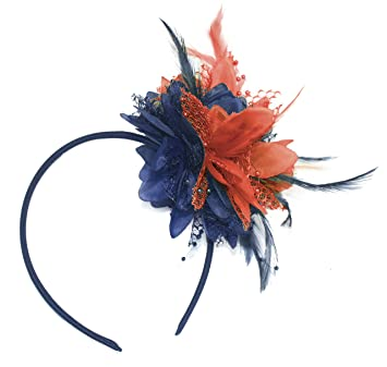Navy Blue and Coral Fascinator on Headband for Ascot Weddings   Amazon.co.uk  Beauty 98d7031357c