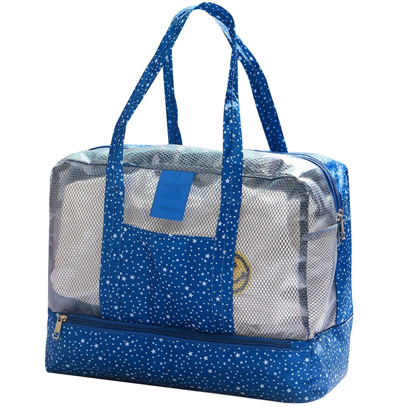 Monique防水ビーチBathing水泳ハンドバッグメイクアップオーガナイザーCosmetic Purse Wet Dry Separation Toiletries Bag forメンズレディース B074N3SPK7