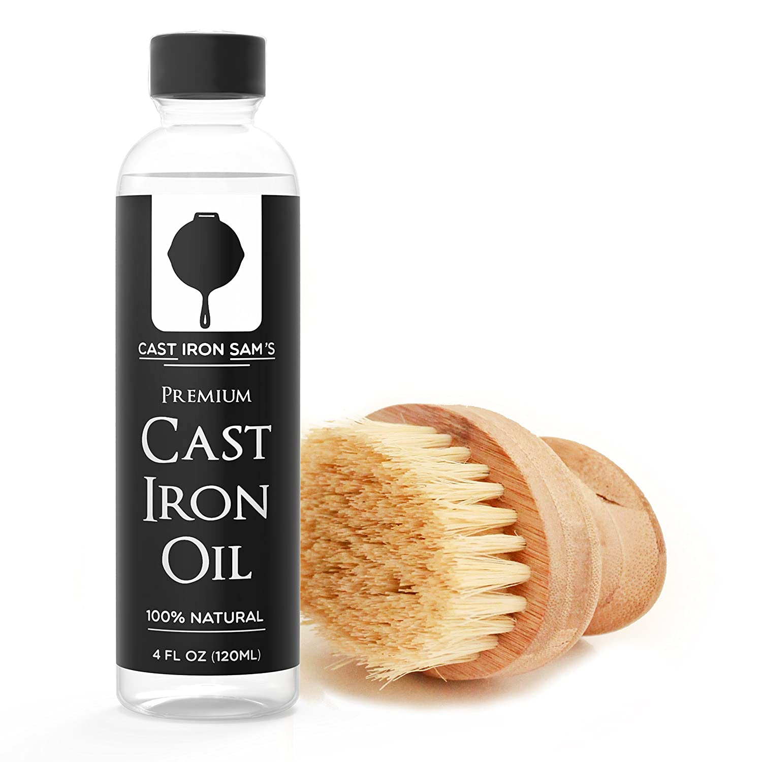 Cast Iron Seasoning Oil and Natural Scrubber Brush Cleaning Kit
