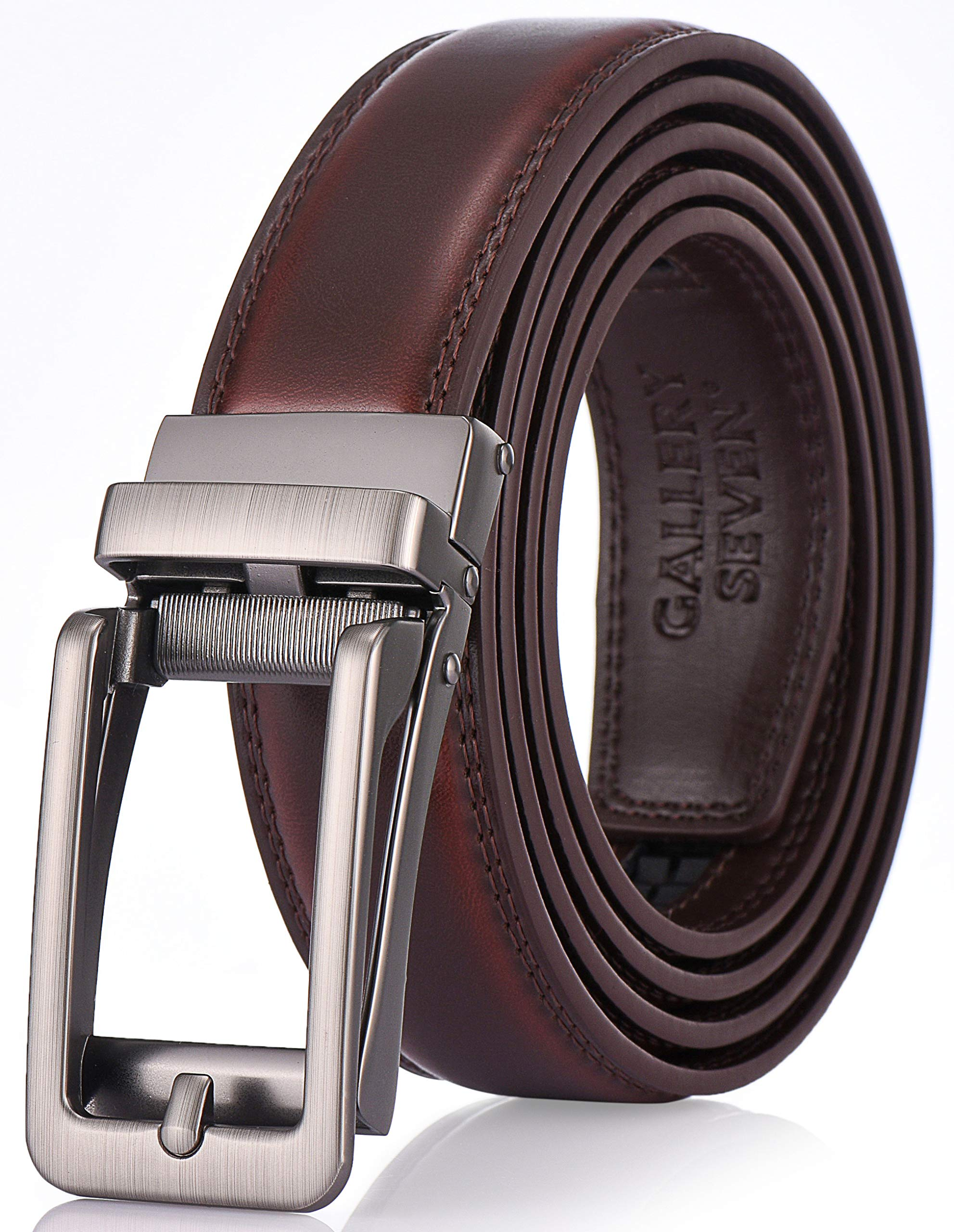 Gallery Seven Leather RatchetBelt For Men - Adjustable Click Belt - Casual Dress Belt - Mahogany - Style 17 - Adjustable from 38'' to 54'' Waist