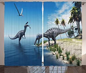 """Ambesonne Jurassic Curtains, Large Fish is Caught by a Suchomimus Dinosaur Flying Pterosaur Dinosaur, Living Room Bedroom Window Drapes 2 Panel Set, 108"""" X 84"""", Blue Green"""