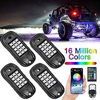 USTELLAR RGB LED Rock Lights 4 Pods Phone APP Remote Timing Music Mode Multicolor Neon Lighting Kit Waterproof Exterior…
