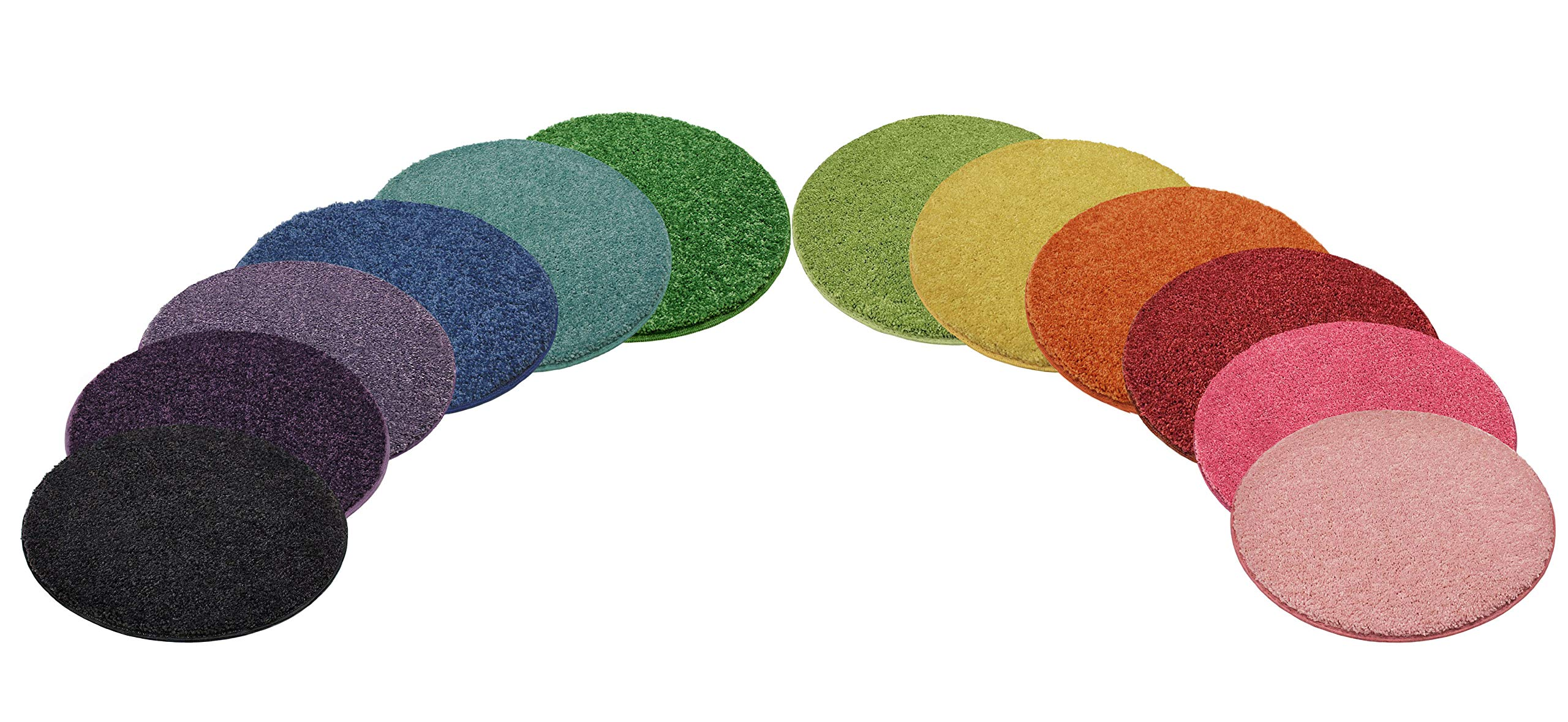"""12 Rainbow Kids Crazy Carpet Circle Seats 18"""" Round Soft Warm Floor Mat - Cushions   Classroom, Story Time, Group Activity, Time-Out Spot Marker and Fun. Home Bedroom & Play Areas - USA Made"""