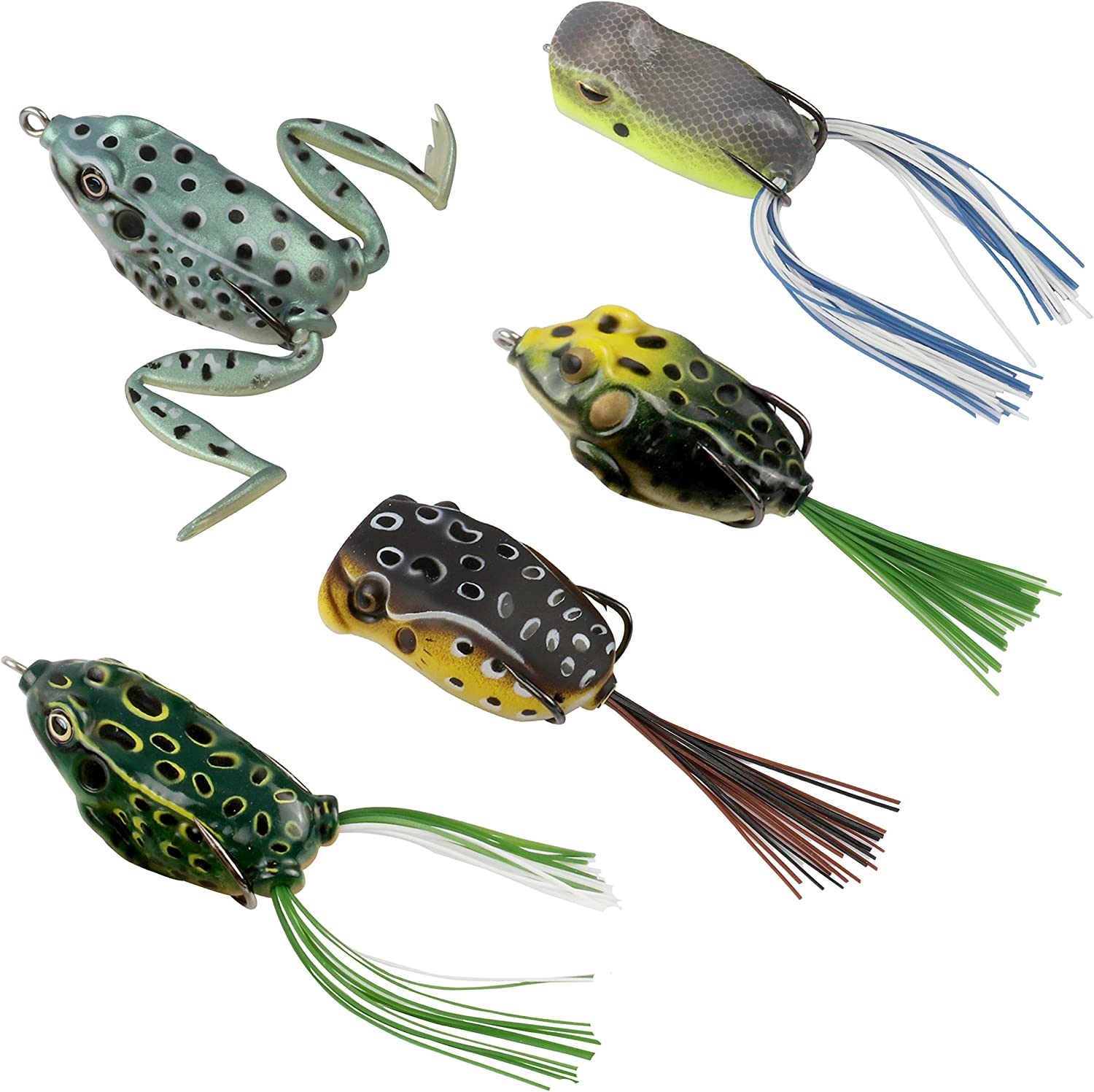 RUNCL Topwater Frog Lures, Soft Fishing Lure Kit with Tackle Box for Bass Pike Snakehead Dogfish Musky (Pack of 5) : Sports & Outdoors