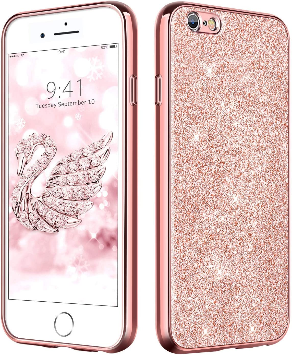 DUEDUE iPhone 6 Case Bling,iPhone 6S Case, Slim Hybrid Hard PC Cover Shockproof Non-Slip,Glitter Full Body Protective Phone Cover Case for iPhone 6/iPhone 6S for Women/Girls,Rose Gold
