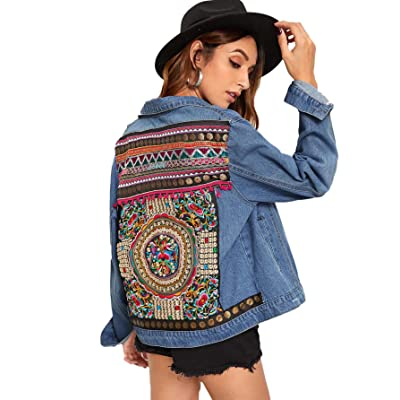 Floerns Women's Ethnic Embroidered Ripped Casual Long Sleeve Denim Jacket at Women's Coats Shop